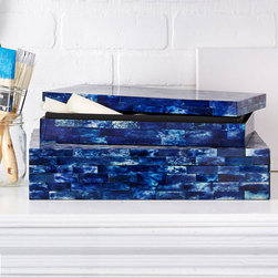 Lapis Tile Boxes - Set of 2 - Clouds of vivid sapphire and white suffuse the long tesserae of these low blue boxes, rich accents for bedrooms and living spaces where jewel tones are embraced.  The Set of Two Lapis Tile Boxes make the most of their color with subtle joinings between pieces of dyed bone, a material which beautifully imitates precious stones with ancient, sacred histories.