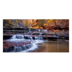 Picture-Tiles, LLC - Waterfall Picture Kitchen Bathroom Ceramic Tile Mural  18 x 36 - * Waterfall Picture Kitchen Bathroom Ceramic Tile Mural 2088