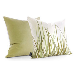 Inhabit Grass Pillow, Summer Grass Green - As ecofriendly as grass, this pillow is made from 100 percent sustainable recycled polyester and is recyclable to boot.