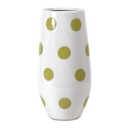 IMAX CORPORATION - Essentials Green Apple Polka-Dot Vase - Trendy and modern, the polka-dot vase from Essentials by Connie Post brings a graphic pop to update your space. Find home furnishings, decor, and accessories from Posh Urban Furnishings. Beautiful, stylish furniture and decor that will brighten your home instantly. Shop modern, traditional, vintage, and world designs.