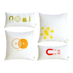 Gus Modern - Gus Modern Chemistry Pillows - Set of Four - Add a little color and a lot of comfort to your bed with this pillow set. Featuring geometric prints, these pillows won't make you smarter, but they will liven up and fluff out your bed.