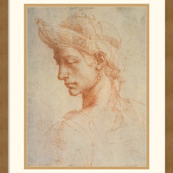 Amanti Art - Drawing of a Woman Framed Print by Michelangelo Buonarroti - Best known for his painting of the Sistine Chapel, Michelangelo Buonarroti also used the study of female profiles, such as this one, to idealize their beauty.