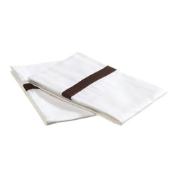 "300 Thread Count King (Hotel) Pillow Cases (Pair) Cotton Solid - White/Chocolate - A hotel luxury way to decorate your bed with a Hotel Collection 300 Thread Count Pillowcase Set. The perfect complement to a guest bedroom or master suite! These 300 thread count pillowcases of premium long-staple cotton are ""sateen"" because they are woven to display a lustrous sheen that resembles satin. Coordinate with our Hotel Collection Duvet Cover Sets, Bed Sheets and Bed-skirts!"