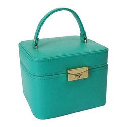 Morelle - Emma Small Leather Jewelry Box, Emerald. - Lovely leather jewelry box with compartments for rings, necklaces, bracelets and earrings. Features mirror on inside lid and separate takeout compartment for added organization. Also includes lock and key for safety.
