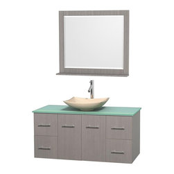 Wyndham Collection - 48 in. Single Bathroom Vanity in Gray Oak, Green Glass Countertop, Arista Ivory - Simplicity and elegance combine in the perfect lines of the Centra vanity by the Wyndham Collection . If cutting-edge contemporary design is your style then the Centra vanity is for you - modern, chic and built to last a lifetime. Available with green glass, pure white man-made stone, ivory marble or white carrera marble counters, with stunning vessel or undermount sink(s) and matching mirror(s). Featuring soft close door hinges, drawer glides, and meticulously finished with brushed chrome hardware. The attention to detail on this beautiful vanity is second to none.