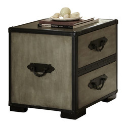 "Steve Silver - Steve Silver Rowan 22x20 End Table - The Rowan Collection evokes the nostalgic romance of golden-age steam travel, with classic metal fixtures and leather accents. The Rowan end table stands 23"" high, with a 20"" x 22"" top and two spacious storage drawers. This attractive piece complements the Rowan chest and trunk. What's included: End Table (1)."