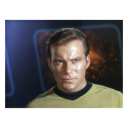 Oriental Furniture - Star Trek Captain James T. Kirk Wall Art - Compelling color photo of American pop culture icon William Shatner as television's inter-galactic adventurer, Captain Kirk, of the original Starship Enterprise. This outstanding, limited edition collectible wall decor is perfect for sci-fi and Star Trek fans. The authorized original image of the actor in his defining role is reproduced onto artist quality canvas using giclee style technology, stretched over a mitered wood frame, and ready to hang out of the box.