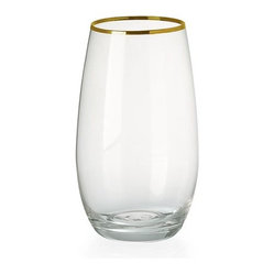 Stemless Water Glasses, Gold Rimmed
