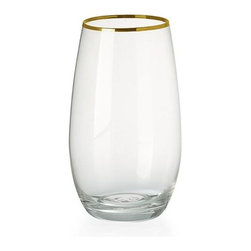 Stemless Water Glasses, Gold Rimmed - Line your stemless water glasses with gold! These are perfect for any occasion.