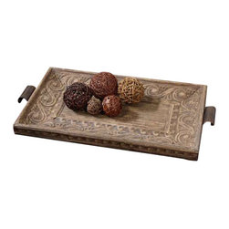 Uttermost Camillus Wood Framed Decorative Tray - Real banana tree bark compressed over metal embossing with a wood frame and a light antiqued stain and accented with copper bronze metal handles. Real banana tree bark compressed over metal embossing with a wood frame and a light antiqued stain and accented with copper bronze metal handles.