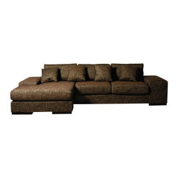 Beverly Hills Furniture - Katz Brown Sectional - Polyester fiber basket weave fabric upholstery. Kiln dried solid wood frame construction for durability. Reinforced corner blocks for added strength. Interwoven webbed base suspension. High density foam seating for enhanced comfort. Detachable ottoman to enable interchangeable chaise orientation. Sleek design with wooden block legs. Comes with brushed nickel plate, transforming the big arm into an easy access end table. 62 in. W x 126 in. L x 36 in. HWrapped in upgraded knit fabric, the Katz sectional is both simple and versatile.  Its seating and back are filled with high resiliency foam and polyfiber.  Its frame is built with kiln-dried solid wood and reinforced with corner blocks to ensure years of comfortable seating.  The chaise may be placed on either side of the sectional with a simple flip of the cushions.  The Katz generously features six throw pillow and a removable brushed nickel tray that transforms the oversized arm into an easy access end table.