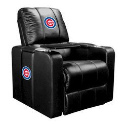 Dreamseat Inc. - Chicago Cubs MLB Alt Logo Home Theater Plus Leather Recliner - Check out this awesome Leather Recliner. Quite simply, it's one of the coolest things we've ever seen. This is unbelievably comfortable - once you're in it, you won't want to get up. Features a zip-in-zip-out logo panel embroidered with 70,000 stitches. Converts from a solid color to custom-logo furniture in seconds - perfect for a shared or multi-purpose room. Root for several teams? Simply swap the panels out when the seasons change. This is a true statement piece that is perfect for your Man Cave, Game Room, basement or garage. It combines contemporary design with the ultimate comfort from a fully reclining frame with lumbar and full leg support.