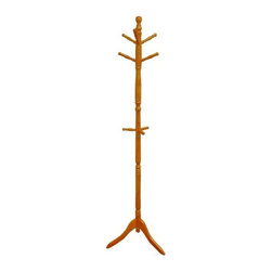 ORE International - Natural Wood Swivel Standing Coat Rack - Offer your guests a place to hang their hat with this attractive coat rack. Features 9 pegs for holding coats, scarves, hats and more. Protective laminate finish wipes clean with a damp cloth. Made of wood. Dimensions: 19 in. L x 19 in. W x 71.5 in. H ( 19 lbs. )