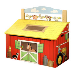 Teamson Design - Fantasy Fields Hand Carved Happy Farm Toy Chest - Teamson Design - Toy Boxes & Chests - TD11326A - Toys are safe and sound in Teamson's Happy Farm Toy Chest. Hand carved and painted toy chest is the ideal location for safe keeping of all kinds of play things. Shaped to look like a barn with friendly animals dancing about they will have as much fun looking and using their imaginations with this one as they will playing with their toys! Trying to keep toys stored away because company is coming over? The top of the toy chest has little animals and beads for your child to play with. Bring back some good all fashioned fun straight from the farm!