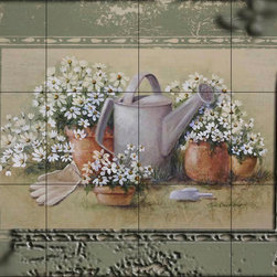 The Tile Mural Store (USA) - Tile Mural - Gardens Edge With Border - Kitchen Backsplash Ideas - This beautiful artwork by Rita Broughton has been digitally reproduced for tiles and depicts flower pots with daisies and a watering can  This garden tile mural would be perfect as part of your kitchen backsplash tile project or your tub and shower surround bathroom tile project. Garden images on tiles add a unique element to your tiling project and are a great kitchen backsplash idea. Use a garden scene tile mural for a wall tile project in any room in your home where you want to add interesting wall tile.