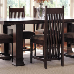 Copeland Furniture - Frank Llloyd Wright Dana-Thomas Side Chair - The Dana-Thomas Dining Chairs were reissued in 2006 by Copeland Furniture. Each piece bears a unique serial number, its date of manufacture, and the signature. A bit shorter than the Large Side Chairs, these chairs are perfect for smaller dining areas, or as accent pieces, throughout the house. Features: -Dana-Thomas Dining Room collection. -Material: Solid hardwood. -Perfect for smaller dining area . -Made in the USA.