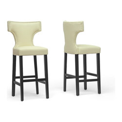 "Baxton Studio - Baxton Studio Hafley Beige Modern Bar Stool (Set of 2) - Update your kitchen or bar area with a stool that is a breath of fresh air. Hafley's hallmark is beautiful, soft, buttery beige faux leather. This Chinese-made bar chair also includes a wooden frame with black lacquer base, polyurethane foam cushioning, and trendy silver nail head trim. The Hafley Designer Bar Stool requires assembly and is also available in brown (sold separately). Easily maintain the appearance of your new stool by wiping clean with a damp cloth before immediately drying the surface. Product dimension: 21.37""W x 18.75""D x 45.75""H, seat dimension: 17.87""W x 15.75""D x 30.87""H"