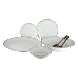 Le Cadeaux - Provence White Outdoor Dinnerware  S/3 - Provence White by Le Cadeaux is the ultimate in Melamine Dishes.You will not know its melamine until you pick it up.