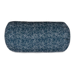 Majestic Home Goods - Navy Navajo Round Bolster Pillow - Add a splash of color and a little texture to any environment with these great indoor/outdoor plush pillows by Majestic Home Goods. The Majestic Home Goods Navajo round bolster pillow will add additional comfort to your living room sofa or your outdoor patio. Whether you are using them as decor throw pillows or simply for support, Majestic Home Goods round bolster pillows are the perfect addition to your home. These throw pillows are woven from outdoor treated polyester with up to 1000 hours of U.V. protection, and filled with Super Loft recycled polyester fiber fill for a comfortable but durable look. Spot clean only.