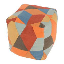 """Jaipur Rugs - Red/Blue Handmade 100% Cotton Pouf (16""""X16""""X16"""") - En Casa by Luli Sanchez is a collection that offers coordinating Pillows, Poufs and Rugs. Woven in 100% cotton these poufs are boldly patterned and freshly colors for a bit of kick or splash of modern."""