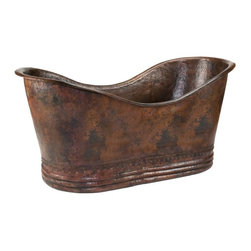 Premier Copper Products - Premier Copper Products 67 in. Hammered Copper Double Slipper Bathtub - BTD67DB - Shop for Tubs from Hayneedle.com! Transform your bathroom in distinctly luxurious style with the Premier Copper Products 67 in. Hammered Copper Double Slipper Bathtub. Expertly handcrafted of recycled copper this double slipper tub features a highly textured hammered surface finished in rustic oil-rubbed bronze. This handsome surface-mount tub is accented by a 2-inch rolled rim and studded base. 100% recyclable this fixture fits a 2-inch centered drain and is backed by a limited lifetime warranty.About Premier Copper ProductsBased in Phoenix Ariz. Premier Copper Products imports individually hand-crafted artisan copper products from Mexico. Competitively priced and environmentally sound this unique line of sinks and accessories includes a full range of drain selections and specially made silicone caulk that s color-matched and nonreactive and every product meets rigorous quality-control standards.Tips to Take Before Taking it Easy in Your Clawfoot or Freestanding Tub We know you're excited to transform your bathroom from dull to indulgent with the addition of a clawfoot tub or a freestanding tub but please consider this important information before taking on your tub.We recommend having a professional plumber install your tub. Make sure your floor can support the weight of the tub whether it's empty or full. Measure the doorway you'll take the tub through to get inside your house and measure your stairwell and your bathroom doorway too to make sure the tub will fit. Remember that some tub feet are not removable. Get prepared with the right parts. You'll need some essentials to enjoy a proper clawfoot or freestanding tub experience. Keep in mind that parts such as the faucet drain supply lines hand-held shower head shower curtain and shut-off valves are sold separately While you can use universal parts for some tubs you'll find that others require parts that are the same brand as the tub. All of your necessary tub parts are available for purchase here at ClawfootTubs.com. Have your plumber ensure that your tub is level. To prevent the tub from moving and to protect your floor try placing coasters underneath the tub feet. After the tub is installed see that your plumber turns the water on and makes sure everything works and drains properly. Now don't forget the bubbles!