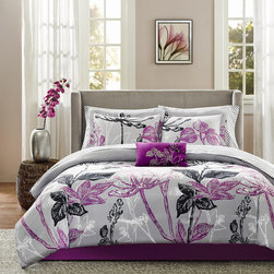 Madison Park - Madison Park Essentials Nicolette 9-piece Complete Bed Set - Nicolette makes a bold fashion statement in the bedroom with this large scale bright purple and black floral print covers this grey comforter. The set includes everything needed to accessorize a bed.