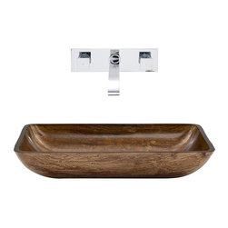 Vigo Industries - Rectangular Vessel Sink with Faucet - Includes pop up drain, mounting ring, all mounting hardware and hot/cold waterlines