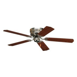 "Progress Lighting - Progress Lighting P2525-09 Air Pro 52"" Ceiling Fan in Brushed Nickel - blades In - 52"" hugger fan with 5 blades and 3-speed reversible motor. Brushed Nickel fan with reversible Cherry or Natural Cherry blades.ADA Compliant: No Blades Included: Yes Collection: Air Pro Energy Star Compliant: No Finish: Brushed Nickel Height: 8-1 8"" Shop by Style: Traditional Suggested Room Fit: Bedroom, Dining Room, Kitchen Nook, Living Room, Office Type: Ceiling Fans Width: 52""{General 15 Year Limited Warranty Hugger style housing {Blades Five blades 11 degree pitch MDF blade material {Motor Triple capacitor speed control manual reverse control 153mm dia x 13mm high {Mounting Flush ceiling mounted Unit covers standard recessed 4"" octagonal outlet box ~Notes:~An outlet box assembly designed for fan installation is required (not included) Mounting hardware is included {Electrical Prewired 1 8"" IP accessory adapter {Labeling UL listed"