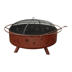 Landmann - Super Sky Stars and Moon Fire Pit in Georgia Clay - Offers 360 degree view of fire. Weather cover. Poker and spark guard. Large and unique, can burn amount of firewood for large fires. Sturdy steel construction. Minimal assembly required. 40 in. x 40 in. x 23 in.. Weight: 69 lbs
