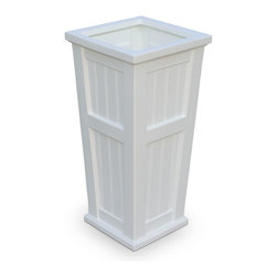 Mayne Inc. - Cape Cod Tall Planter White - Looking to add curb appeal? Enhance the look of your home with Mayne's Cape Cod Tall. With the beadboard design this planter creates a sense of architectural flare and truly delivers that New England feeling. Molded from durable polyethylene, this planter will endure the seasons providing you with the perfect decorative touch.  The Cape Cod patio planter features a beaded panel design.  Single wall molded design, made with high-grade polyethylene.  Self watering tray insert creates sub-irrigation water system and encourages root growth.  The tray can be reversed to support a potted plant or removed so the planter can be completely filled with soil.  Drainage holes to be pre-drilled by customer depending on desired use of the planter.  Opening is 11.75 x 11.75.  Approximately 10 gallon soil capacity, water capacity is approximately 6.5 gallons (24 litres).  15 year limited warranty