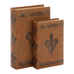 Benzara - 10in. High Wood Leather Book - Set of 2 - If you are looking for low cost but rare to find elsewhere decor item to refresh the decor appeal of short spaces on tables and shelves, beautifully designed 66967 WOOD LEATHER BOOK S/2 a set of two may be a good choice.
