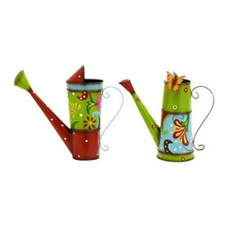 Benzara - Bright and Colorful Watering Cans - Bright and Colorful Watering Cans. Choose from two sizes of bright and colorful watering cans with metal alloy.