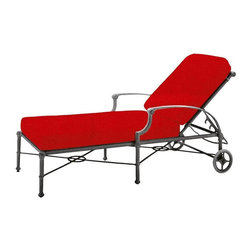 Woodard - Woodard Delphi Adjustable Chaise Lounge Multicolor - 850470 - Shop for Chaise Lounges from Hayneedle.com! The chaise lounge has been an outdoor staple for decades but the Woodard Delphi Adjustable Chaise Lounge is the first lounge chair that's actually ready to last that long all by itself. Combining weatherproof aluminum with ultra-thick cushions and a subtle high-end finish this lounge chair is going to right there when you need it all year long. Virgin aluminum is formed into thick-walled hexagonal tubes that join the slender frame with gentle rosette flourishes delicate supports and wide curved arms to give you the style you'd expect from premium furniture craftsmanship. A powder-coat finish in the color of your choice lets put your stamp on the look while adding another layer of protection against moisture and weathering. The thick two-part cushion is covered in all-weather fabric that's offered in a wide range of colors and styles with further customization available in the form of multiple cushion trim options. The multi-position backrest lets you reach the angle that relaxes you most and heavy-duty rubber-tired wheels let you follow the sun wherever it may go.Important NoticeThis item is custom-made to order which means production begins immediately upon receipt of each order. Because of this cancellations must be made via telephone to 1-800-351-5699 within 24 hours of order placement. Emails are not currently acceptable forms of cancellation. Thank you for your consideration in this matter. Woodard: Hand-crafted to Withstand the Test of Time For over 140 years Woodard craftsmen have designed and manufactured products loyal to the timeless art of quality furniture construction. Using the age-old art of hand-forming and the latest in high-tech manufacturing Woodard remains committed to creating products that will provide years of enjoyment. Superior Materials for Lasting Durability In the Aluminum Collections Woodard's trademark for excellence begin