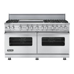 """Viking 60"""" Pro-style Dual-fuel Range, Stainless Liquid Propane   VDSC5606GSSLP - The 60"""" wide dual fuel model offers the ultimate in capacity, power, and performance. The 15,000 BTU gas burners are equipped with the VSH Pro Sealed Burner system, ensuring a consistent flame from the most delicate simmer to a roaring boil. The front right burner also delivers an 18,500 BTU TruPower setting."""