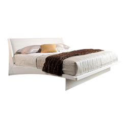 VIG Furniture - Volterra - Contemporary Floating White Bed With Lights, Queen - Contemporary platform bed with LED lights on the bottom
