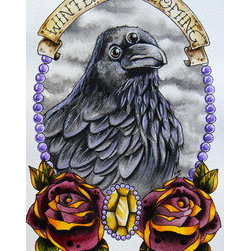 """Winter Is Coming"" (Original) By Meg Walker - This Piece Was Inspired By My Love Of Tattoo Style Art And One Of The Best Shows On T.V., Game Of Thrones. If You Love Got, You'Ll Love This Piece. It Features The Three-Eyed Raven Under The Stark Family Motto, Winter Is Coming."