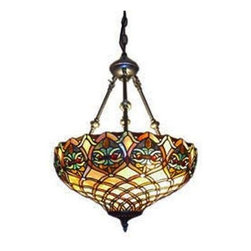 Serena D'italia - Serena D'italia 50 in. Tiffany Baroque Bronze Hanging Pendant Lamp 16099REVHAN - Shop for Lighting & Fans at The Home Depot. Handcrafted using methods first developed by Louis Comfort Tiffany, this elegant Tiffany Style Baroque Hanging Pendant Lamp will lend a unique touch to your home decor. The shade is made of hand cut pieces of stained glass wrapped in fine copper foil in rich tones of amber, brown, green, and red. The lamp's bronze tone finished hardware make it a must buy!