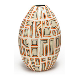 Bambeco Ceramic Clove and Spice Blocked Vase - Forward thinking contemporary design with a nod to the pastneutral colors combine with bold accents. Geometric patterns evoke rustic ancient style with a modern twist. The texture invites touch, to not just see, but feel your décor.   Dimensions:  13H x 8W x 5D  Care: Dust with a soft brush or damp cloth.