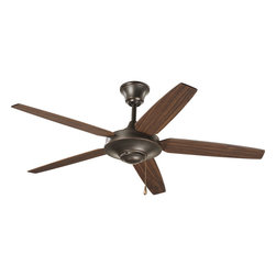 "Progress Lighting - Progress Lighting P2530-20 Airpro Antique Bronze 54"" 5-Blade Energy Star Fan - 54"" five-blade Energy Star Fan with reversible Medium Cherry/Classic Walnut blades and an Antique Bronze finish. The AirPro Signature ceiling fan offers great performance and value. This contemporary styled fan features a powerful, 3-speed motor that can be reversed to provide year-round comfort. Includes innovative canopy system that can be installed on vaulted ceilings up to 12:12 pitch. A 1"" x 6"" downrod is included, however, longer downrods can be ordered seperately."