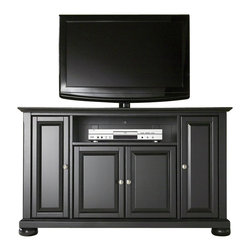 """Crosley Furniture - Crosley Furniture Alexandria 48"""" TV Stand in Black Finish - Crosley Furniture - TV Stands - KF10002ABK - Constructed of solid hardwood and wood veneers this cabinet is designed for longevity. The rich hand rubbed multi-step black finish is perfect for blending with the family of furniture that is already part of your home. Brushed Nickel hardware adds a touch of style to this already beautiful cabinet. There is plenty of storage space and wire management behind the beautiful raised panel doors to hide electronic components gaming consoles DVDs and other items that you would prefer to be out of sight. The 47 3/4"""" width means that this cabinet is perfect for most 50"""" TV's. Style function and quality make this cabinet a wise choice for your home furnishings needs and is sure to be a part of your home for years to come."""