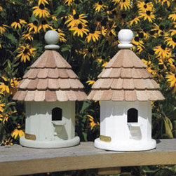 Small Shingled Bird House - White - This small charming bird house is made of a durable vinyl material and the natural cedar shingles will weather to a lovely silver-gray over time. It makes a good home for any small bird.
