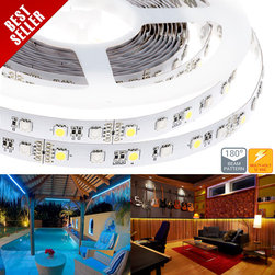 High Power RGBW LED Flexible Light Strip - RGB+White LED Strip - NFHT-RGBx300X3 series Non-weatherproof flexible LED light strip with alternating RGB Color Changing and White high power 5050SMD LEDs. 5 meter (197 in) length with white finish and adhesive backing, can be cut into 6-LED segments. 12VDC operation. Available in RGB+Natural White or RGB+Warm White.
