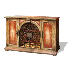 Aged Mediterranean Buffet, Rust Red and Olive with Gold Scrolls - Aged Mediterranean Buffet, Rust Red and Olive with Gold Scrolls