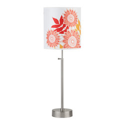 Lights Up! - Cancan 2 Adjustable Table Lamps, Anna Red - Add a burst of vibrant color to a cheerful bedroom. This floral table lamp is perfect for illuminating both sides of a bed. Pair it with crisp bedding in a similar palette for a playful look.