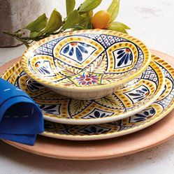 "Horchow - ""Kaleidoscope Flower"" Dinnerware - Every meal becomes a smile-filled gathering when you set the table with the cheerful pattern of this bright dinnerware. Handcrafted of earthenware. Hand-painted floral/geometric design reminiscent of traditional tile patterns. Dishwasher safe. Dinne..."