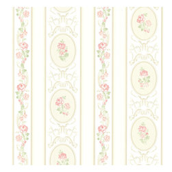 Brewster Home Fashions - Palmer Pink Stripe Wallpaper. - An ornate floral scroll design elegantly falls between beige stripes and cameo pendants on this beautifully designed wallpaper. Light pinks and green bring a romantic garden appeal to any room in your home.