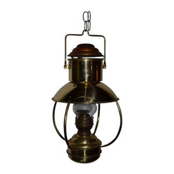 Pre-owned Mid-Century Hanging Copper Lantern - A Mid-Century, two-toned copper lantern. Illuminated by lamp oil, this lantern casts a rich, warm glow bright enough to read by or wonderfully ambient on lower intensity. Ideal for summer porch living with its hanging chain and protected hurricane glass chimney. A beautifully-appointed sculptural object to admire by day; by night, a romantic oasis of light.
