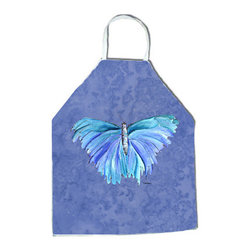"Caroline's Treasures - Butterfly on Slate Blue Apron - Apron, Bib Style, 27""H x 31""W; 100% Ultra Spun Poly, White, braided nylon tie straps, sewn cloth neckband. These bib style aprons are not just for cooking - they are also great for cleaning, gardening, art projects, and other activities, too!"