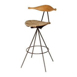 """Pre-owned Mid-Century Italian Stool - An Italian Mid-Century swivel stool. The stool features a flowing, curved, honey toned wood back rest with a rush seat and metal legs. The rush seat shows darkened, aged patina.     Seat height: 28""""."""