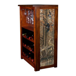 Kelseys Collection - Wine Cabinet 15 bottle La Grue Woodies - The Jessica Wine Cabinet showcases and stores wine and glassware with solid  pine construction. Famous artwork is giclee-printed on canvas side panels. The licensed art is from among the World's Best Selling and Recognized Artists. Solid  radiata pine with a hand stained and hand rubbed rubbed medium reddish brown finish. The art is giclee printed on canvas with three coats of UV inhibitor. The canvas is then glued onto panels and inserted into the frames. The overall dimensions are 33  by 22  by 11.5  Net weight 20# Three racks each holding 5 bottles.  Shelf, and stemware holder.  Estimated assembly time   20 minutes